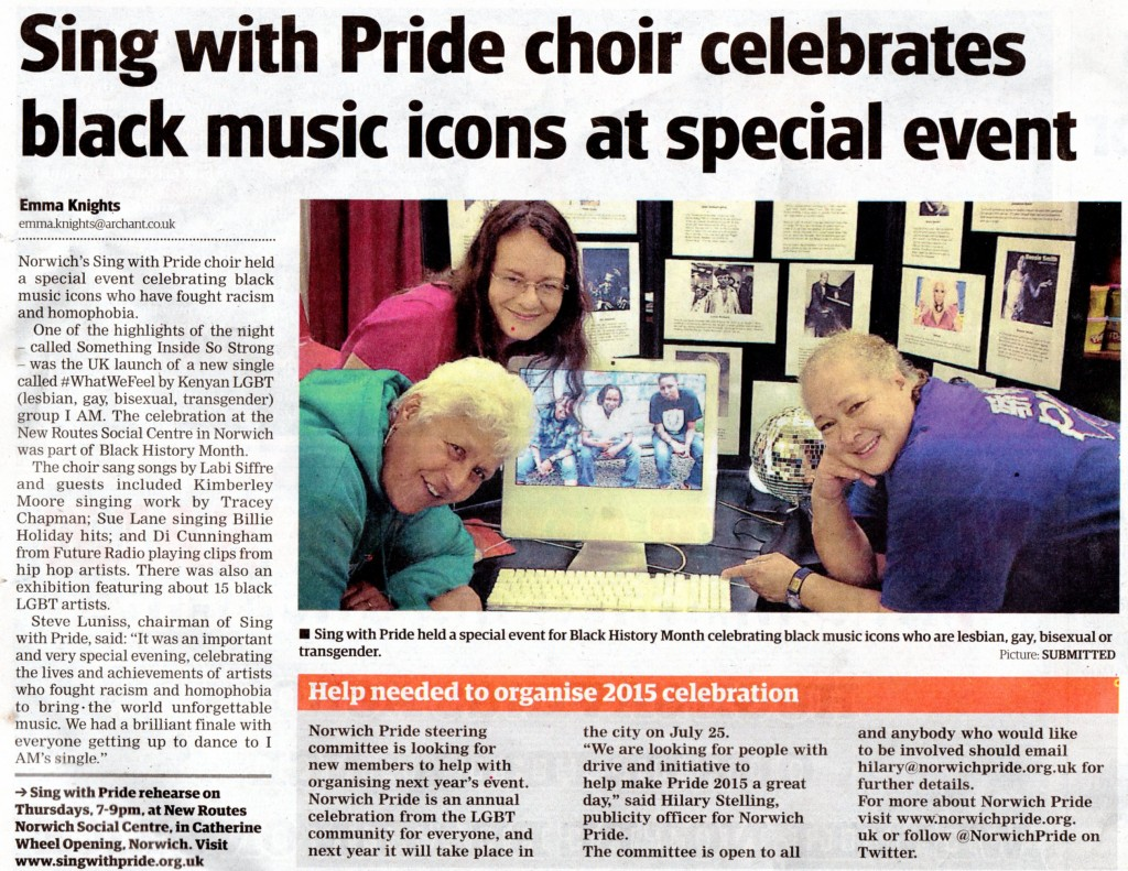 Sing with Pride BHM Event Eve News