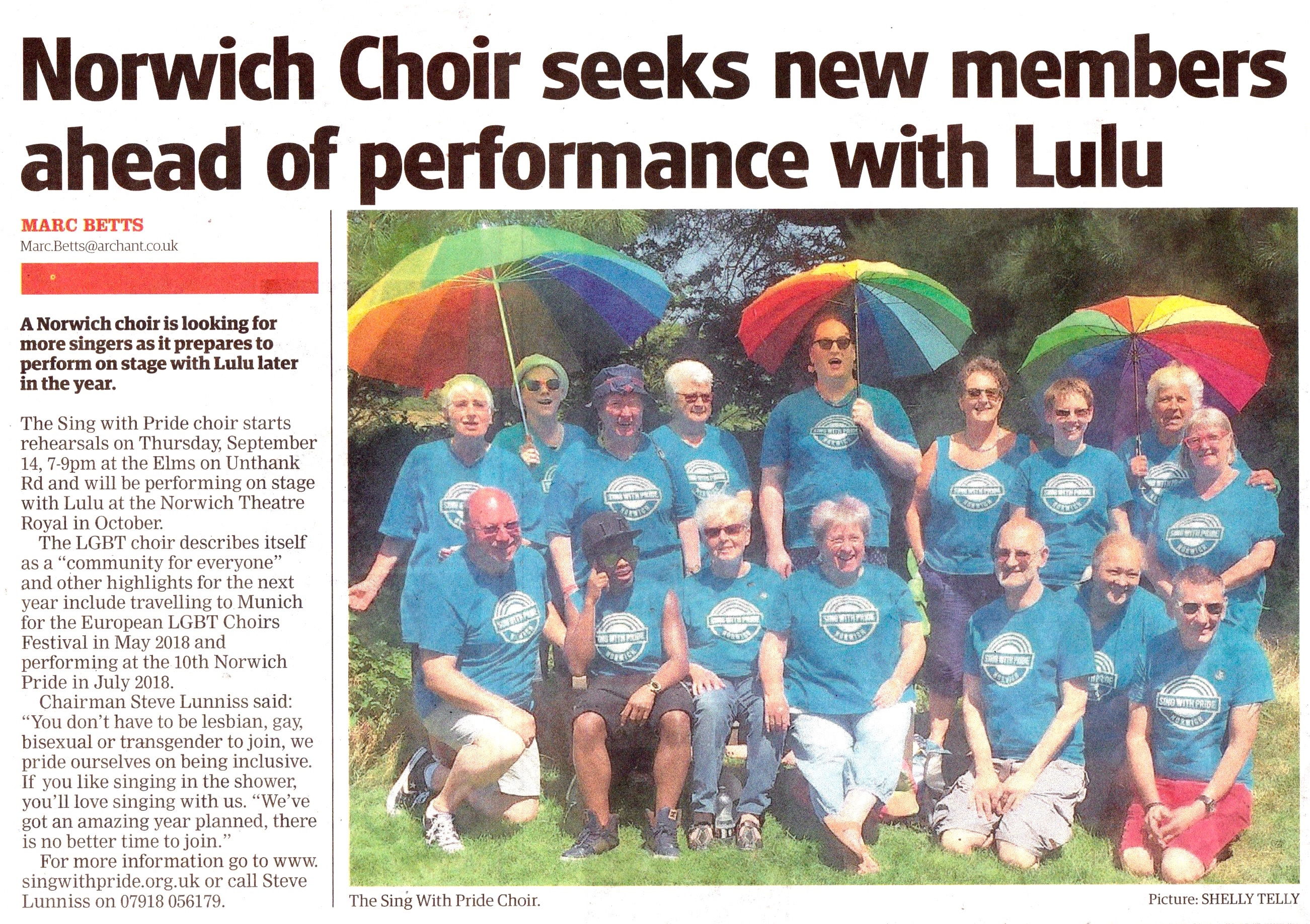 Sing with Pride in paper for LULU